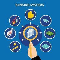 ilustração em vetor conceito pictograma de sistemas bancários