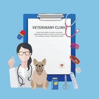 modelo de prescrição de clínica veterinária vetor