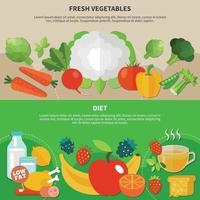 ilustração vetorial conjunto de composição plana de alimentação saudável vetor