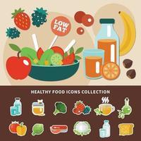 ilustração em vetor alimentação saudável com baixo teor de gordura