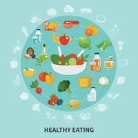ilustração em vetor composição de círculo de alimentação saudável