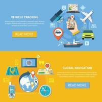 banners de navegação de rastreamento de veículos vetor