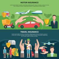 banners de seguro de viagem e transporte vetor