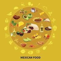 ilustração em vetor comida mexicana composição redonda