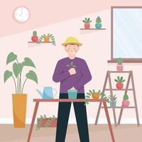 homem jardinando e plantando plantas em casa vetor