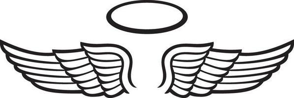 asas de anjo e auréola vetor