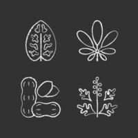Motivo da alergia ícones de giz branco em fundo preto vetor