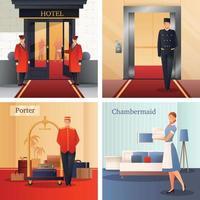 ilustração em vetor conceito de design para funcionários de hotel
