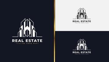logotipo minimalista imobiliário no conceito linear. construção, arquitetura ou modelo de design de logotipo de construção vetor
