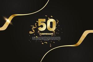 Celebração de aniversário de 50 anos dourado número 10 com confete cintilante vetor