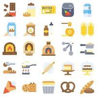 conjunto de ícones planos relacionados com padaria e panificação 3 vetor