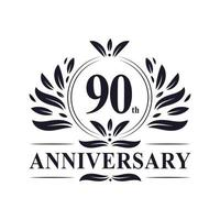 Celebração do 90º aniversário, design luxuoso do logotipo do aniversário de 90 anos. vetor