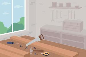 ilustração em vetor cor lisa carpintaria master class