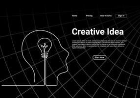 um desenho de linha contínuo da cabeça com uma lâmpada para a página de destino do site. pense grande, aponte para a ideia de design minimalista de conceito isolado em fundo preto. vetor
