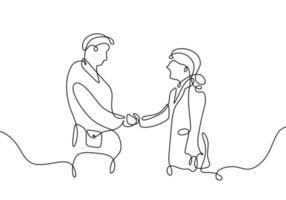 desenho de linha contínua de um homem de negócios apertando a mão vetor