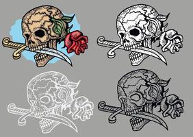 letreiro gótico com rosas de caveira e faca, camisetas com design vintage grunge vetor