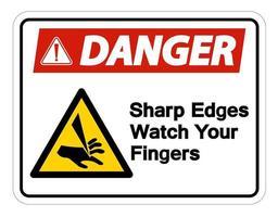 perigo pontas afiadas cuidado com o símbolo dos dedos vetor