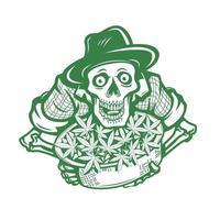 fazendeiro de crânio com cannabis. ilustração vetorial de personagem vetor
