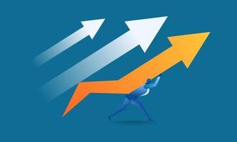 empresário desenhar um gráfico de vendas alvo usando um lápis ilustração de conceito de trabalho empresarial sobre trabalho duro, vendas, lucro, lucro alvo, futuro vetor