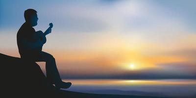 um homem toca violão em frente ao oceano ao pôr do sol. vetor