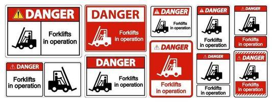 empilhadeiras de perigo em sinal de símbolo de operação vetor