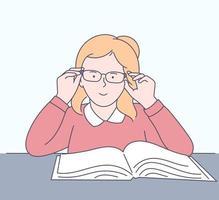 educação, aprendizagem, conceito de escola. garota feliz estuda matérias na escola. vetor