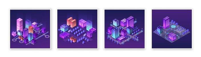 isométrica definir 3d módulo bloco distrito parte da cidade com uma rua rodoviária da infraestrutura urbana da arquitetura vetorial. ilustração branca moderna para design de jogos e plano de negócios vetor
