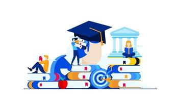 educação universitária que os alunos estudam em uma ilustração plana de vetor de campus
