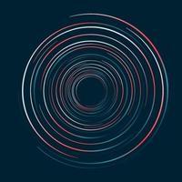 Círculos abstratos linhas redemoinho padrão em fundo azul escuro vetor