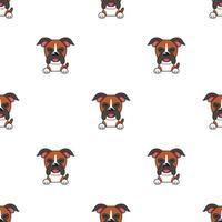 padrão de rosto de cão boxer personagem mostrando emoções diferentes vetor