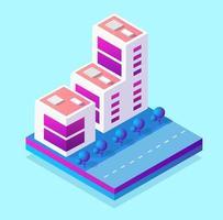 Módulo de bloco 3d isométrico do distrito parte da cidade com um parque gramado com árvores de infraestrutura urbana. ilustração moderna para design de jogos. vetor