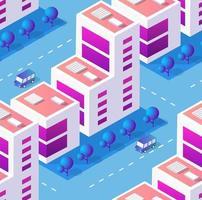 arquitetura ilustração vetorial cidade para fundo de repetição sem costura com arranha-céu isométrico, edifício urbano e paisagem urbana moderna para padrão de mapa de construção de cidade vetor