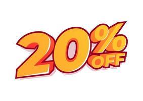 20% de desconto na etiqueta de venda. venda de ofertas especiais. o desconto com o preço é de 20%. vetor