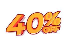 40% de desconto na etiqueta de venda. venda de ofertas especiais. o desconto com o preço é de 40%. vetor