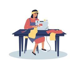 uma mulher trabalha em casa em sua mesa vetor