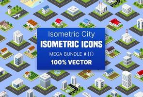 edifício conjunto isométrico abriga ícones de módulos de blocos de áreas, da construção da cidade e desenho da perspectiva urbana, desenho do ambiente de arquitetura vetor
