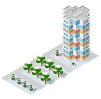 isométrica 3d módulo bloco distrito parte da cidade com uma rua rodoviária da infraestrutura urbana da arquitetura vetorial. ilustração branca moderna para design de jogos vetor