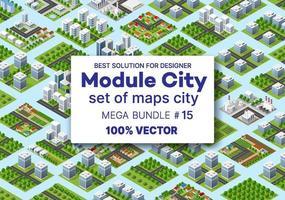projeto de arquitetura de conjunto isométrico abriga transporte de edifícios de módulos de blocos de áreas da construção da cidade e projeto da perspectiva de apartamento de negócios do ambiente urbano vetor
