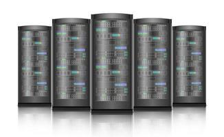 servidores de rede hardware de computador isolado no fundo branco, ilustração vetorial vetor
