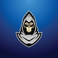 ilustração do mascote ceifador de caveira morta vetor