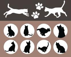 conjunto de silhueta preta de gatos vetor