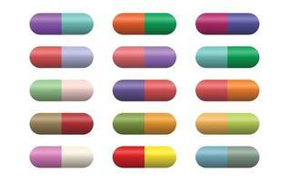 cápsulas de comprimidos em fundo branco vetor
