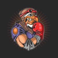 ilustração de esporte de boxe cabeça de águia vetor