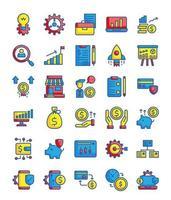 conjunto de 30 ícones de contorno de preenchimento de negócios vetor