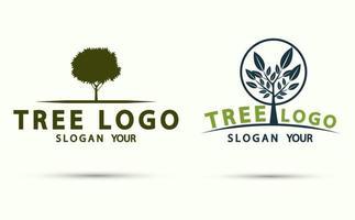 conjunto de ícones de madeira do logotipo da árvore vetor