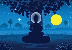 senhor de Buda se ilumina sob uma árvore na noite de lua cheia perto do rio na Índia vetor