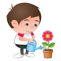 um desenho animado do menino cabeça de bolha rega a planta de flor vermelha no fundo branco isolado vetor