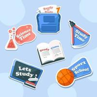 pacote de adesivos de atividades escolares azul incrível vetor