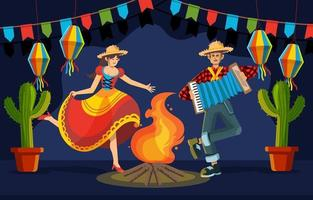 noite feliz dançando na festa junina vetor