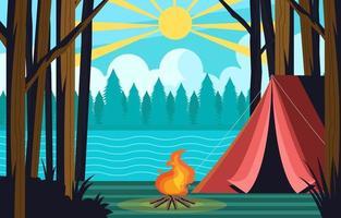 acampar ao lado do lago atividade de verão vetor